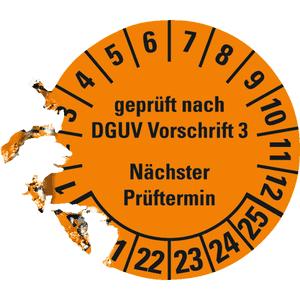 Prüfplaketten Geprüft nach DGUV V3 Nächster Prüftermin ORANGE Glanz Ablösbar