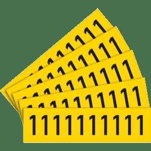 Selbstklebende Ziffer 1 gelb//schwarz Folie Schrifthöhe 30mm 5 Bogen//VE 10//BOG