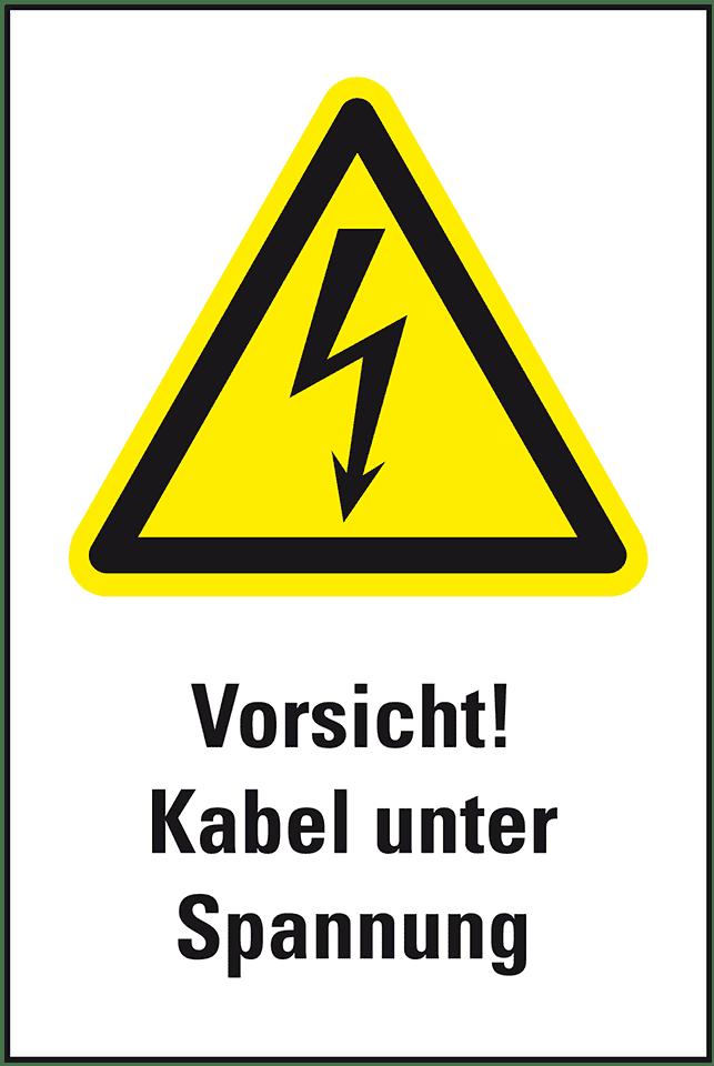 Warn-Kombischild Vorsicht! Kabel, ASR/ISO, Kunststoff, 200x300mm ...