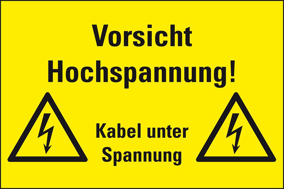 Warnschild Vorsicht! Hochspannung Kabel Spannung   kroschke.com