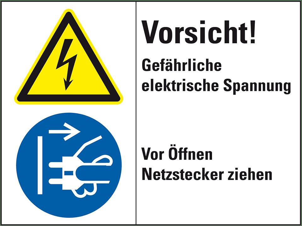 Kombischild Vorsicht! Gefährliche, ISO 3864-2, Folie,200x150mm ...
