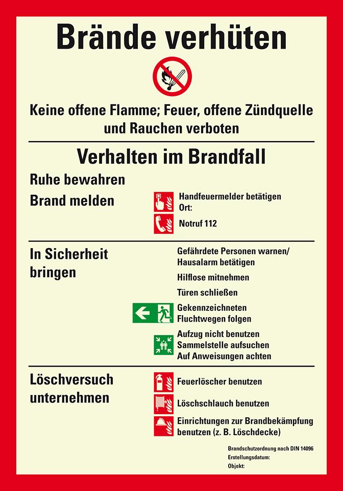 """Aufkleber Brandschutzordnung Brandfall /""""Aufzug nicht benutzen/""""DIN 14096+ISO 7010"""