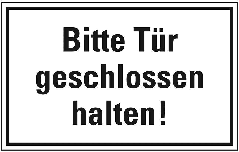 Türhinweisschild Bitte Tür geschlossen halten!, Kunststoff