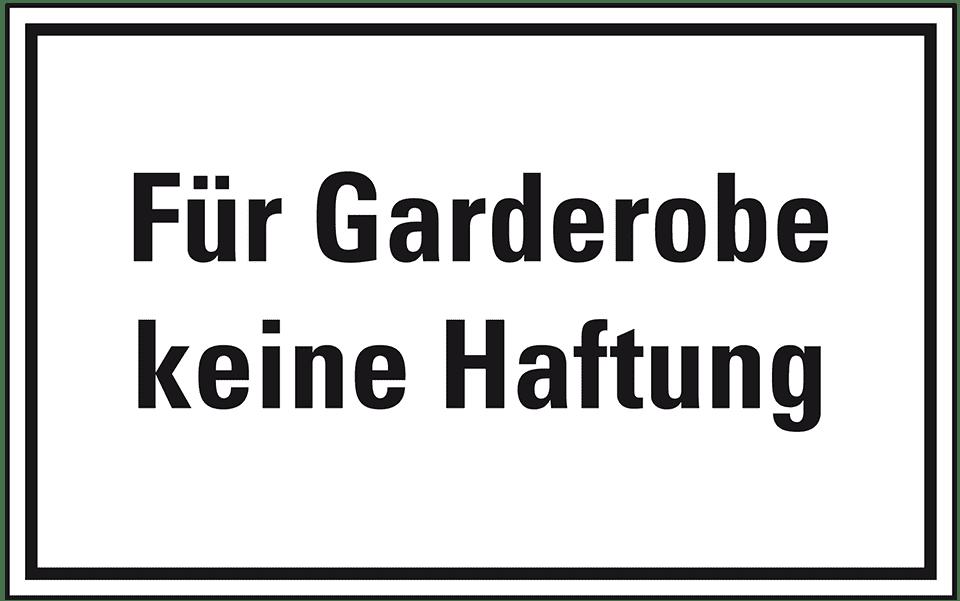 Garderobe schild  Hinweisschild Für Garderobe keine , Folie, selbstklebend ...