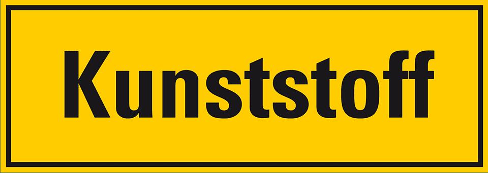 Hinweisschild Kunststoff gelb//schwarz Folie selbstklebend 297x105mm