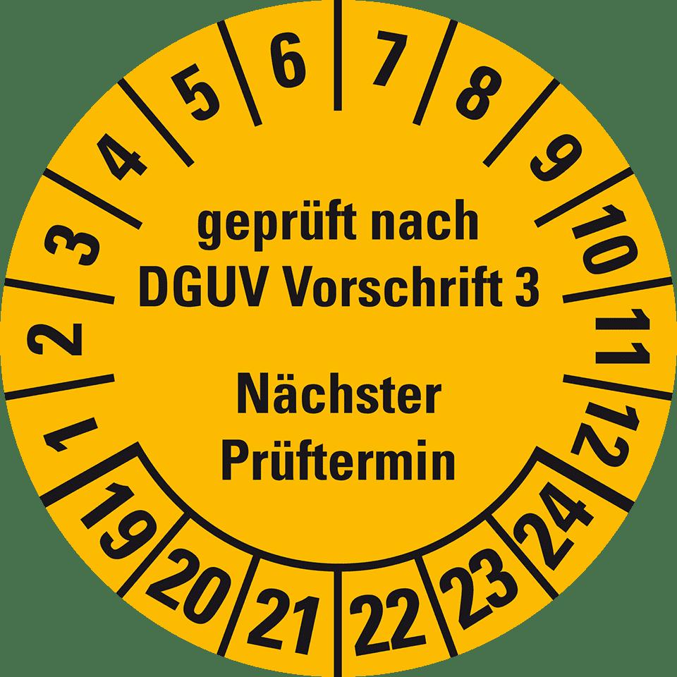 Prüfplaketten Geprüft nach UVV DGUV Vorschrift 3 und DIN VDE 0701 4 X 2,5cm Reklame & Werbung Werbeartikel