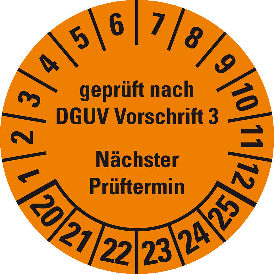 DGUV ASR betrsichv Pruefplaketten prochain prüftermin diamètre Ø 20-50 mm UVV