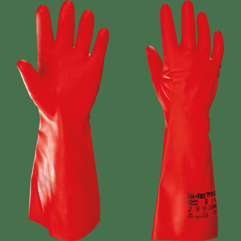 ANSELL Solvex Premium Handschuh Arbeitshandschuh rot Nitril 380 mm Gr.10